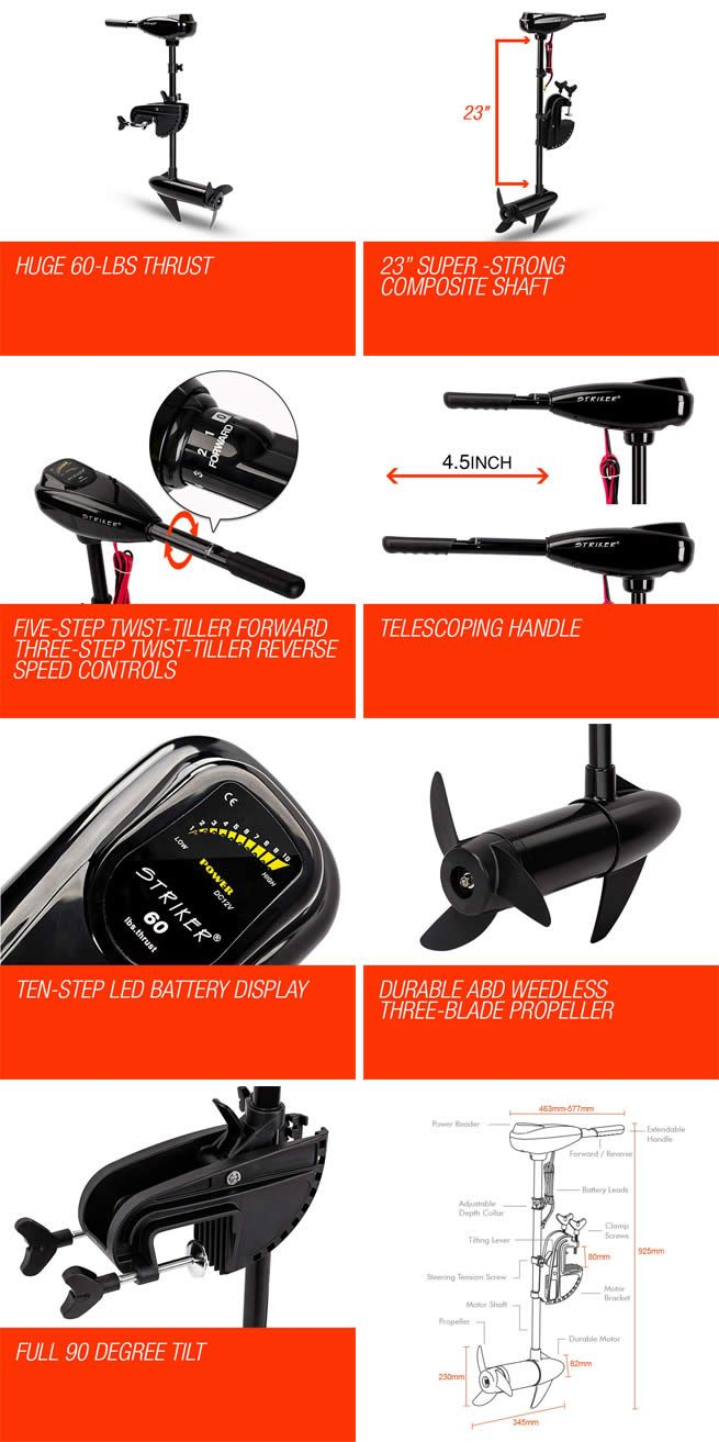 New 60lbs thrust durable striker electric trolling for Electric trolling motor battery size