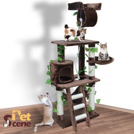 155cm Cat Gym Scratching Post Tree Medium Mocha Crazy Sales