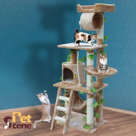 155cm Cat Gym Scratching Post Tree Medium Beige Crazy Sales