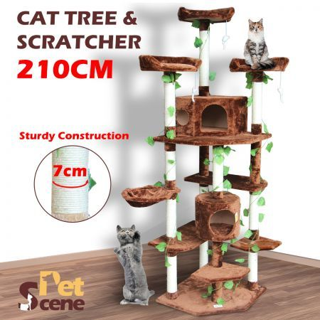 2.1M Multi-Level Cat Scratching Post Climbing Tree-Extra Large-Brown