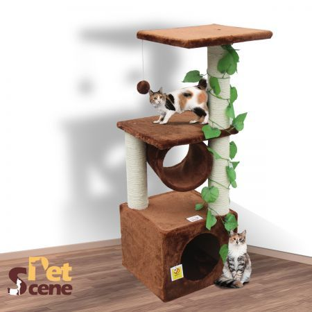 99cm Cat Gym Scratching Post Tree Gym Small-Brown