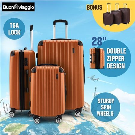 3Pc Luggage Suitcase set-Orange With 3X Covers & TSA Lock