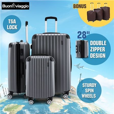 3Pc Luggage Suitcase set-Grey With 3X Covers & TSA Lock