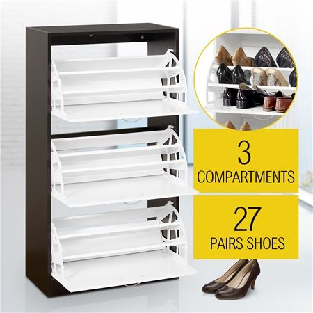 27 Pair Shoe Storage Cabinet-Walnut&White Finish