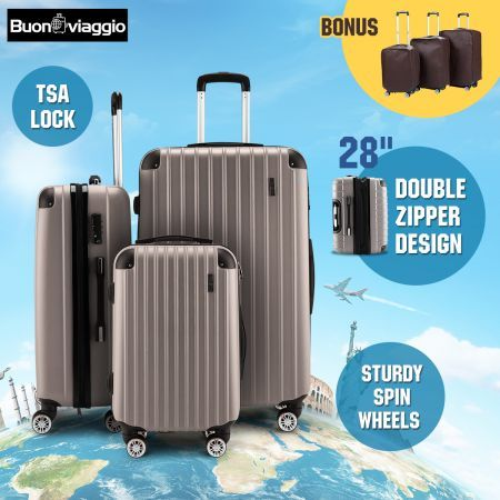 3Pc Luggage Suitcase set-Champagne With 3X Covers & TSA Lock