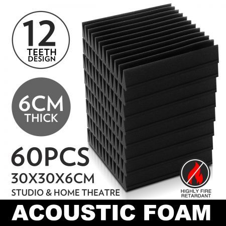 60 x Sound Stop Absorption Treatment Proofing Acoustic Foam Square?
