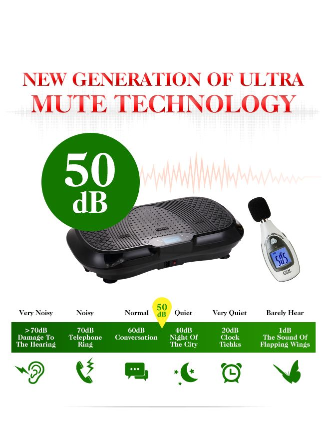 LED Display Genki Whole Body Vibration Machine Plate-Black