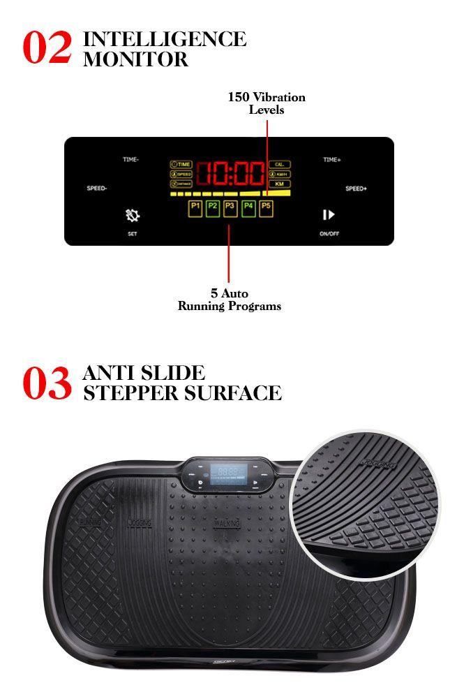 LCD Display Genki Whole Body Vibration Machine Plate-Black