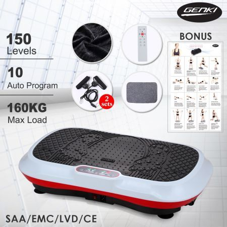 150 Level Genki Whole Body Vibration Machine Plate-White/Red