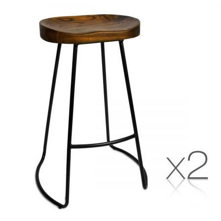 Set of 2 Steel Bar Stools with Wooden Seat