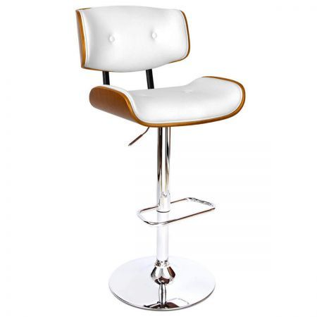 PU Leather Bar Stool with Chrome Base - White