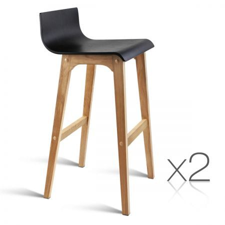 Set of 2 Oak Wood Bar Stools - Black