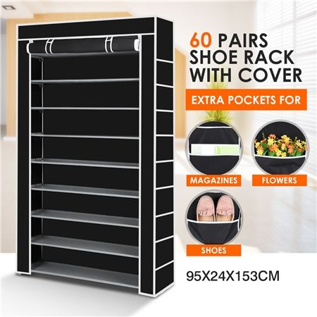 10 Tier Portable Shoe Rack with Non-Woven Cloth Cover-60 Pairs-Black