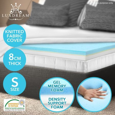 new styles d42ff 7026c 8CM Deluxe Cool Gel Memory Mattress Topper Underlay High Density Foam 4  Sizes