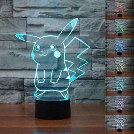 LUD 3D Cute Pikachu Illusion Night Light 7 Color Change LED table Lamp