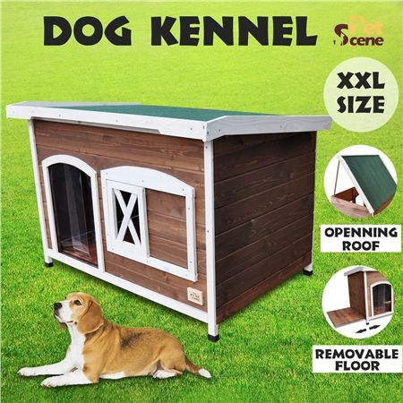 Extra large flat roof wooden dog house kennel crazy sales for Xxl dog house