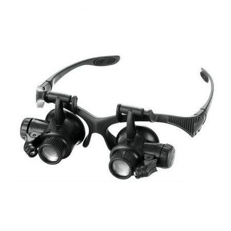 LED Magnifier Double Eye Glasses Loupe Lens Jeweler Watch Repair