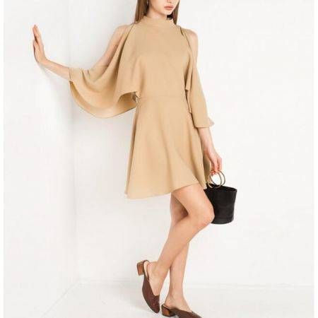 Haoduoyi Women Cold Shoulder Flared Sleeve Dress