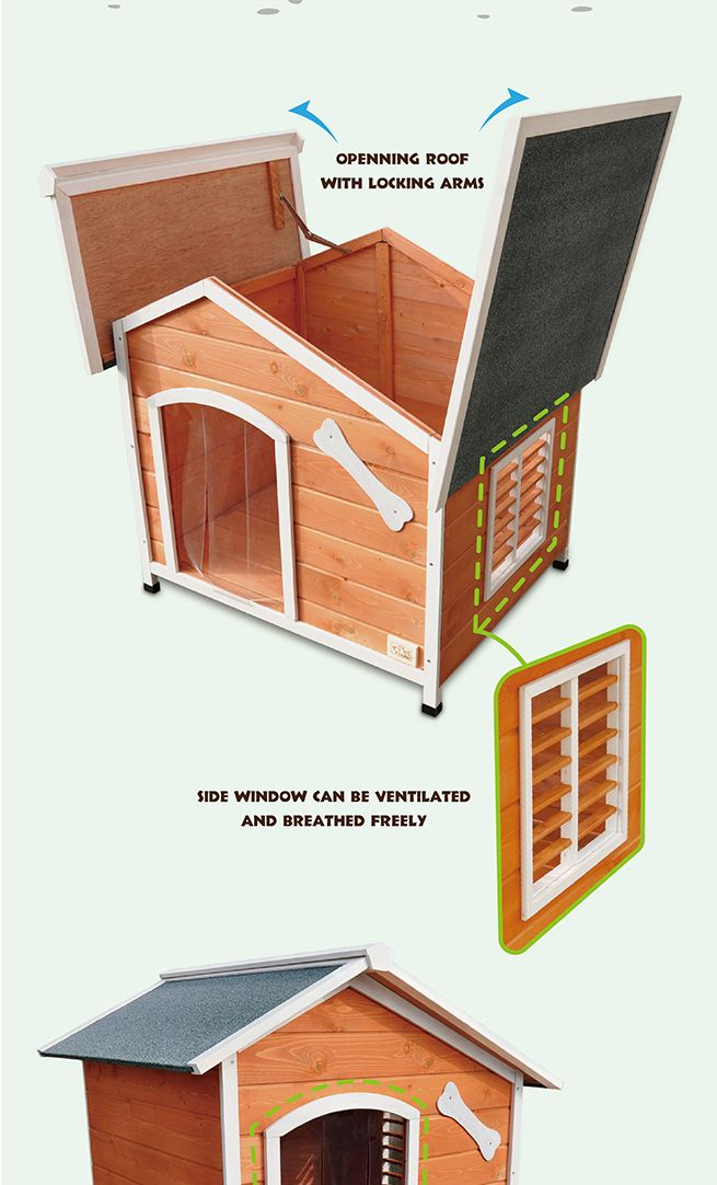 Xl Wooden Dog House With Flip Open Hinged Roof And Side