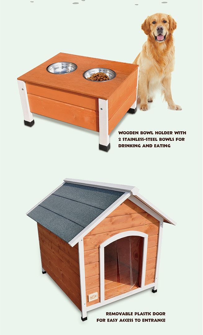 New xxl size luxury spacious wooden pet dog house with for Xxl dog house