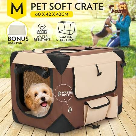 Portable Foldable Soft Dog Crate-Medium-Brown