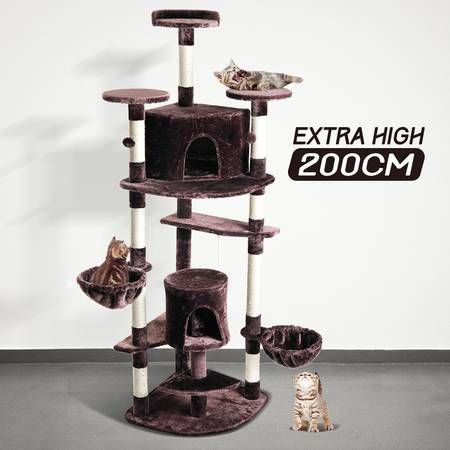 200cm Brown Cat Scratching Post and Tree Gym House