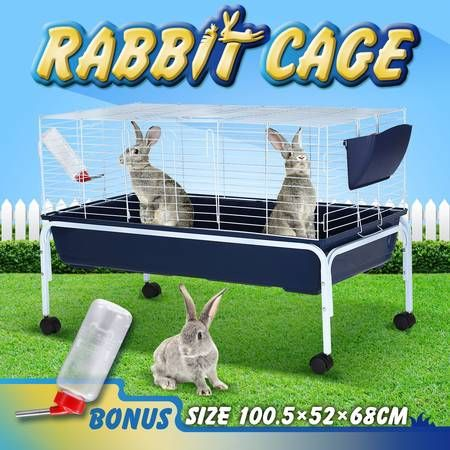 100cm Pet Mobile Safety Pen House Metal Rabbit Cage W/ Stand and Water Bottle