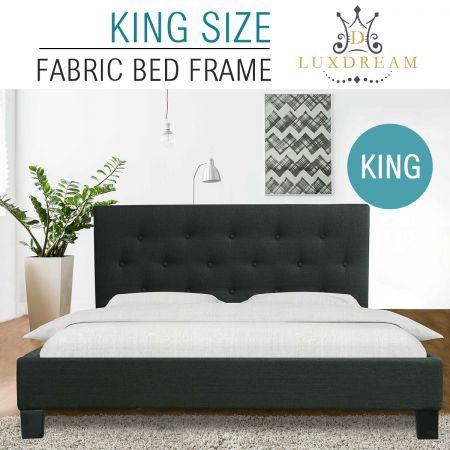 LUXDREAM  Charcoal Linen Bed Frame-King