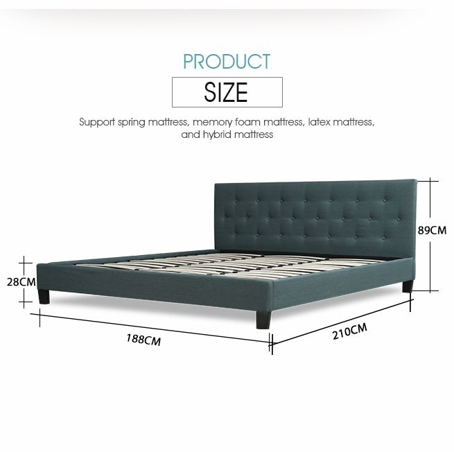 Luxdream Grey King Size Charcoal Linen Fabric Bed Frame
