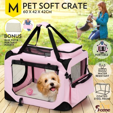 Portable Foldable Soft Dog Crate-Medium-Pink