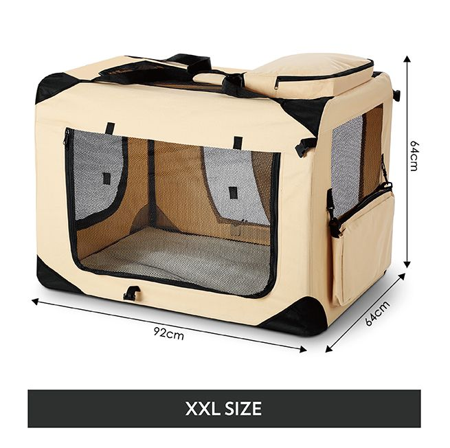 Portable Foldable Soft Dog Crate Xxl Beige Crazy Sales