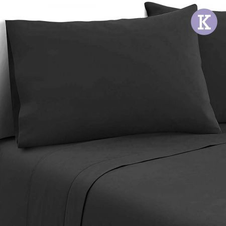 4 Piece Microfibre Sheet Set King - Black