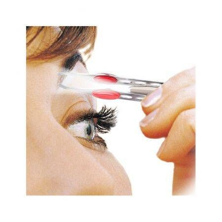 Stainless Steel Portable Eyebrow Eyelash Hair Tweezers with LED Light