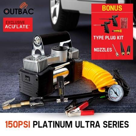 Outbac Platinum Series 12v 150PSI Car Air Compressor Kit Tyre Deflator 4WD Portable Inflator 80L/min - OTB400
