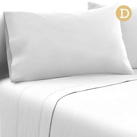 4 Piece Microfibre Sheet Set Double - White