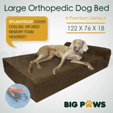 Big Paws Cool Gel Memory Foam Dog Bed Large Orthopedic Dog Bed Cushion with Bolster - Brown
