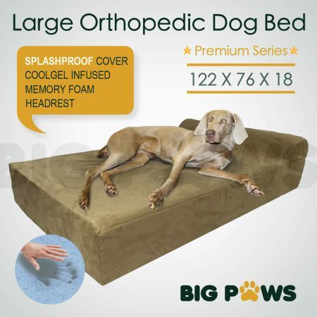 Big Paws Cool Gel Memory Foam Dog Bed Large Orthopedic Dog Bed Cushion with Bolster - Beige