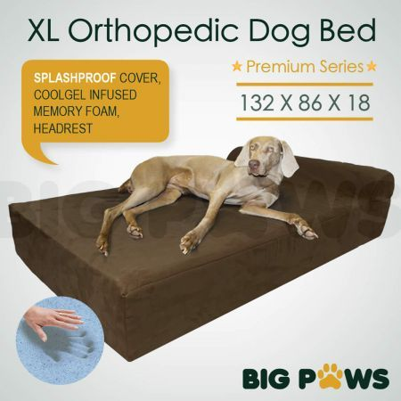 Big Paws Memory Foam Extra Large Dog Bed Orthopedic Dog Beds Cushion Bolster - Brown