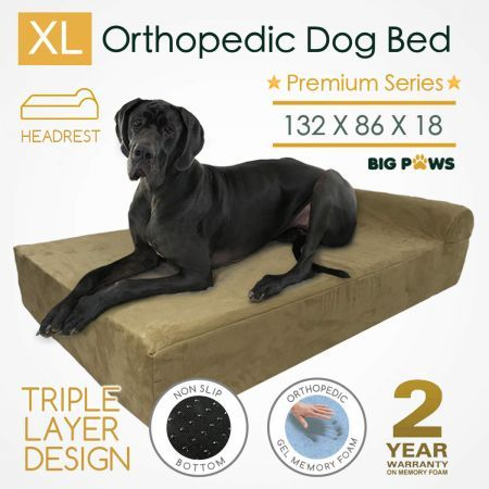 Big Paws Memory Foam Extra Large Dog Bed Orthopedic Dog Beds Cushion Bolster - Beige
