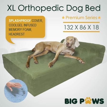 Big Paws Memory Foam Extra Large Dog Bed Orthopedic Dog Beds Cushion Bolster - Green