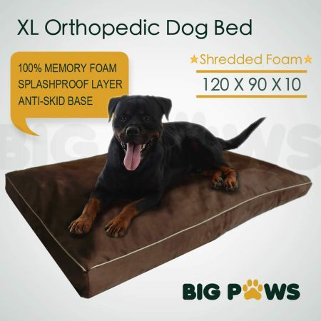 Big Paws Memory Foam Dog Pet Bed Mat Orthopedic Extra Large Dog Bed Water-Resistant - Brown
