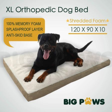 Big Paws Memory Foam Dog Pet Bed Mat Orthopedic Extra Large Dog Bed Water-Resistant - Beige