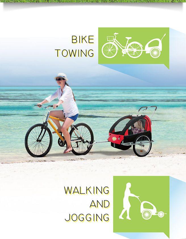 New 2 In 1 Convertible Kidbot Bicycle Trailer Pram