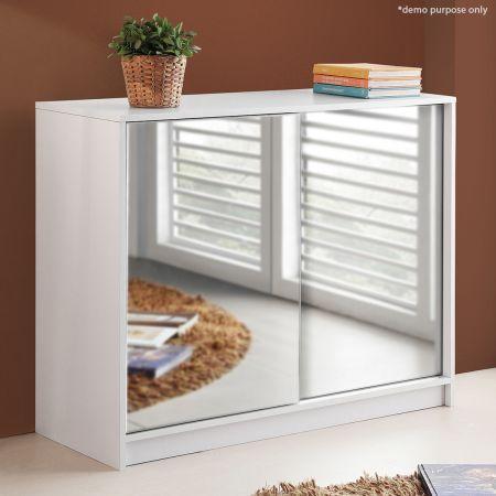 25 Pair Mirrored Sliding Door Shoe Cabinet-White | Crazy Sales