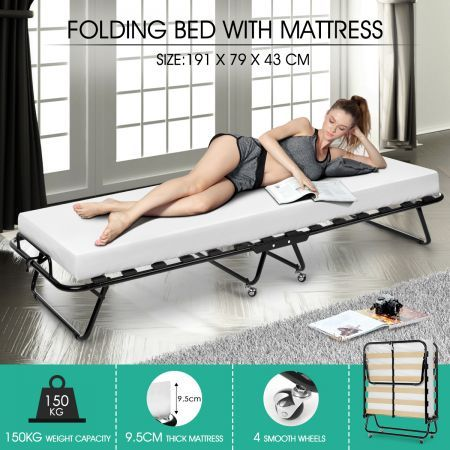 Portable Folding Camping Bed with White Mattress Indoor/Outdoor -Single