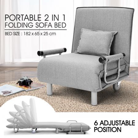 Portable Folding Rollaway Bed Chair With Mattress Single