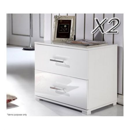 Set of 2 white 2 drawer high gloss bedside tables crazy sales set of 2 white 2 drawer high gloss bedside tables watchthetrailerfo