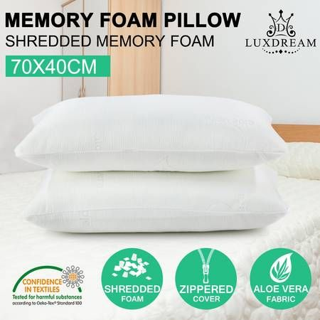 Luxdream 2x Aloe Vera Full Memory Foam Pillow Cover