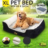 Deluxe Soft Washable Pet Bed Mattress with Blanket & Dog Bone-XLarge
