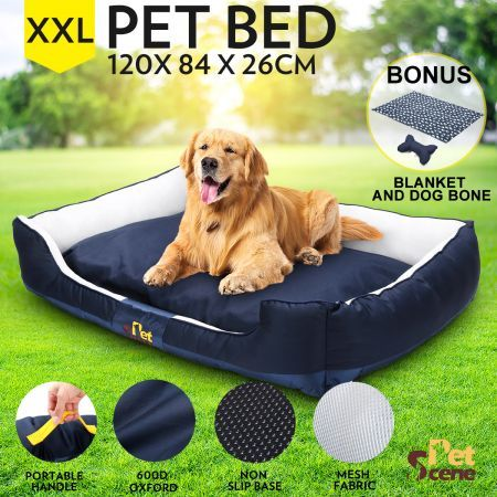 Soft Washable Pet Bed Mattress with Blanket & Dog Bone-XXLarge